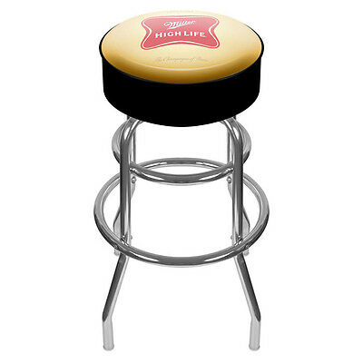 Miller High Life Padded Metal Bar Stool - MHL Beer Vinyl Logo - NEW!