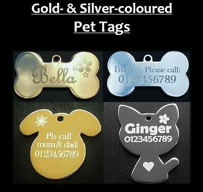 Pet Tags 1x Gold or Silver Pet Tag With Personalised Engraving for Dog Cat Pets