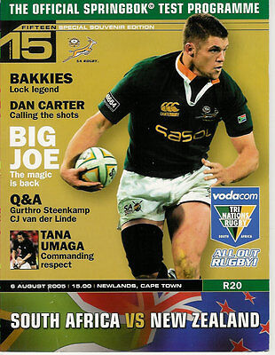 SOUTH AFRICA v NEW ZEALAND 6 Aug 2005 RUGBY PROGRAMME at CAPE TOWN