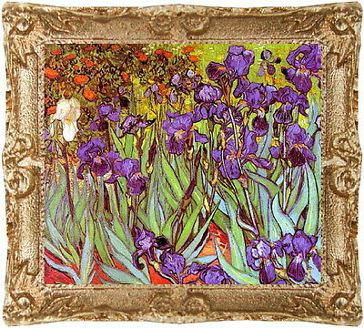 1:24 Scale VAN GOGH IRISES Dollhouse Picture - Framed  Art - MADE IN AMERICA