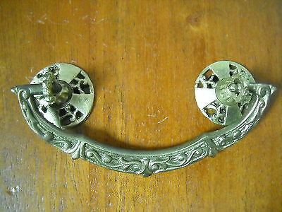 """Antique Cast Brass Drawer Pull 3"""" Centers Curved Surface Type"""