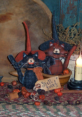 Patti/'s Ratties Primitive Halloween Witch Cat Pillow Ornie Paper Pattern #356