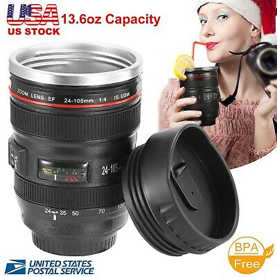 Camera Lens Cup 24-105 Coffee Travel Mug Thermos Stainless Steel, Leak-Proof Lid