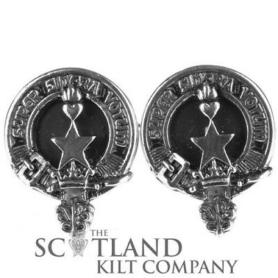 Mens Scottish Made Rattray Clan Crested Boxed Silver Cufflinks by Art Pewter