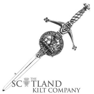 Mens Scottish Made MacBean Clan Crested Boxed Silver Kilt Pin by Art Pewter
