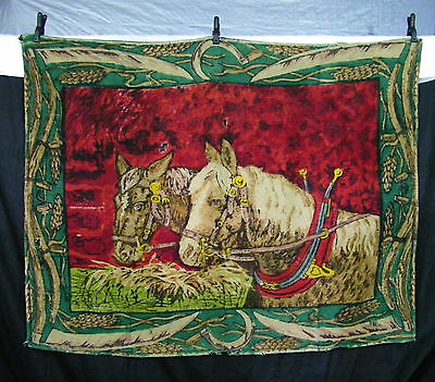 Large Antique Wool Buggy Carriage or Lap Blanket - GREAT Horse Scene - 4ft X 5ft