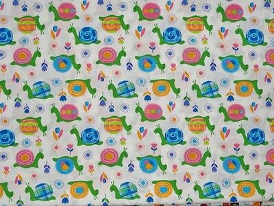 Crib Sheet/ Fitted/ Cotton /handmade- Colorful Snails & Posies On White