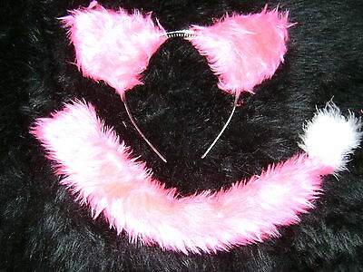 Bright Pink Dog Ears And Tail Set White Marabou Handmade Fancy Dress Unique Item