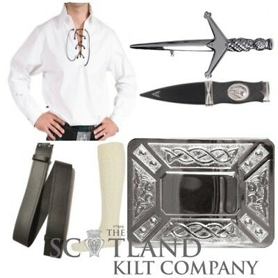 Mens 6 Piece White Ghillie Shirt Package with Chrome Celtic Thistle Kilt Buckle