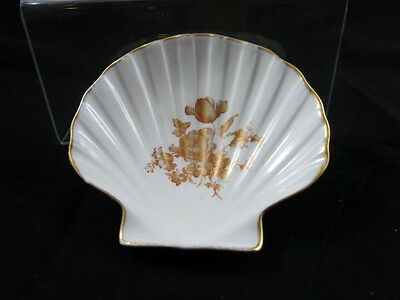 Limoges Hand Painted Shell Shaped Trinket Dish Gold Trim