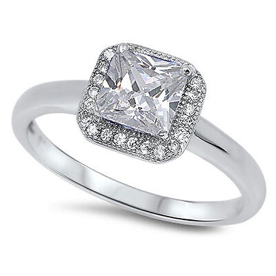 1CT Princess Cut CZ Promise Engagement Ring .925 Sterling Silver Sizes 5-10