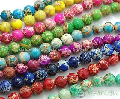 Natural Sea Sediment Jasper Gemstone Round Ball Beads 6mm 8mm 10mm 12mm 15.5""