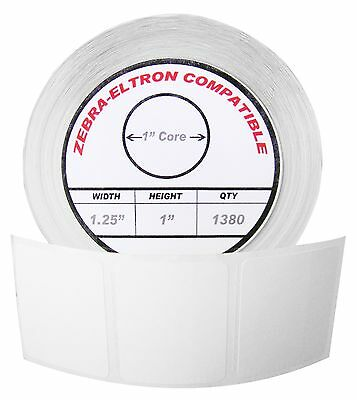"1 Roll/1380 Labels of 1.25x1 (1-1/4"" x 1"") Direct Thermal Zebra Eltron Labels"
