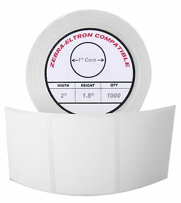 "1 Roll/1000 Labels of 2x1.5 (2"" x 1-1/2"") Direct Thermal Zebra Eltron Labels"