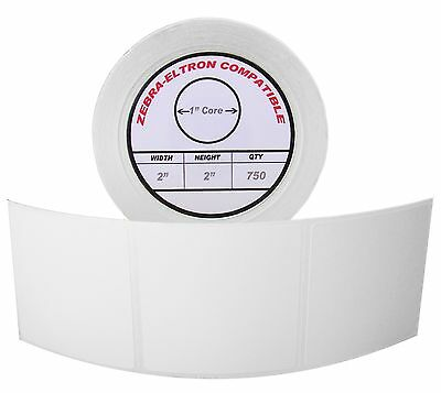 """1 Roll/750 Labels of 2x2 (2"""" x 2"""") Direct Thermal Zebra Eltron Labels"""