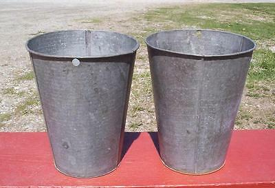 2 OLD LARGE TAPERED GALVANIZED Sap Buckets ORIGINAL Maple Syrup W@W THE BEST!!