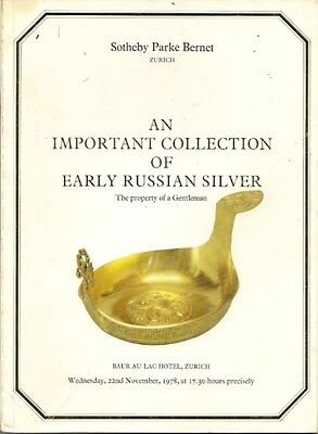 RARE - SOTHEBY'S IMPORTANT COLLECTION EARLY RUSSIAN SILVER Auction Catalog 1978