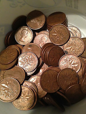 Young Queen Elizabeth II Pennies ^ one roll ^ 50 pieces mixed dates 1953-1964