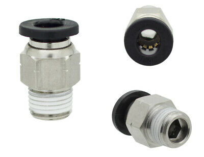 """1/4"""" OD x 1/8"""" NPT 10 Pack Male Straight One Touch Push to Connect Air Fitting"""