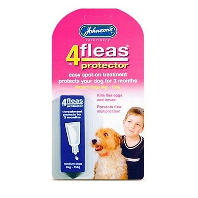 Johnsons Medium Dog 4flea Protector Kill Fleas 3 Month Drop Spot On Treatment