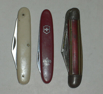 3Pc Vintage Pocket Folding Knives Imperial Victorinox Frost Falcon Rostfrei (C4)