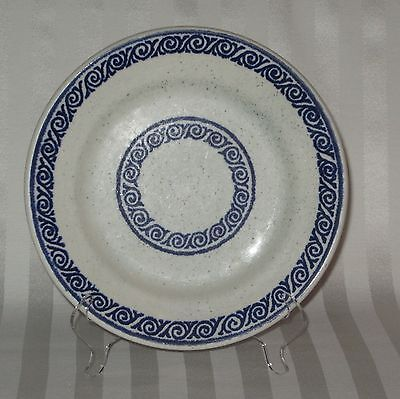 Buffalo China Restaurant Ware Blue Band Geometric Design Luncheon/Dinner Plate