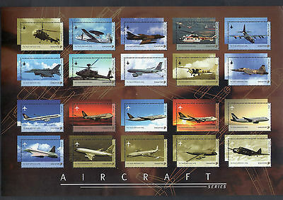 SINGAPORE 2003 Aircraft series, Set of 20V Mint ( Collector's  sheet)