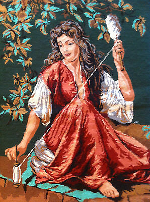 """LARGE Vintage Completed Needlepoint Canvas Tapestry 32""""x24"""""""