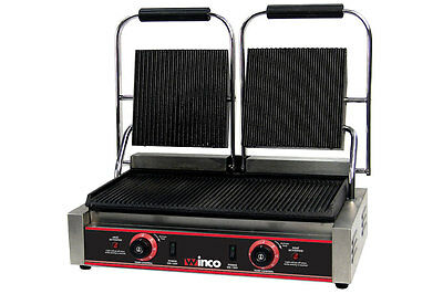 """Winco Countertop  Double Ribbed Top  Panini Grill 19"""" x 9"""" Grill Area EPG-2"""
