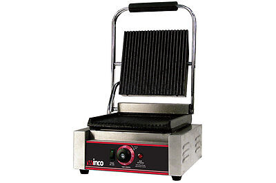 """Winco Countertop Commerical Ribbed Top  Panini Grill 14"""" x 12"""" Grill Area EPG-1"""