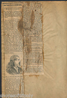 19th C. CAPTAIN JACK CRAWFORD ~ GENERAL CUSTER SCOUT ~ in GREEN BAY WI ~ ARTICLE