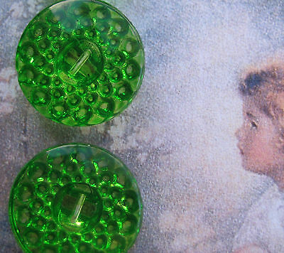 "Set of 4~ Vintage 3/4"" Green Apple Crystal Glass Buttons~Pre WWII~new/old stock"