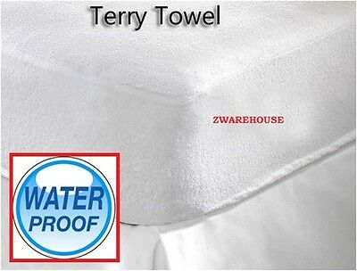 Terry Towel NEW Waterproof Fitted Cover Mattress Protector in Single Double King