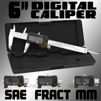 """6"""" Inch Range Digital LCD Caliper SAE AND MM Reading Test Gauge Stainless Steel"""