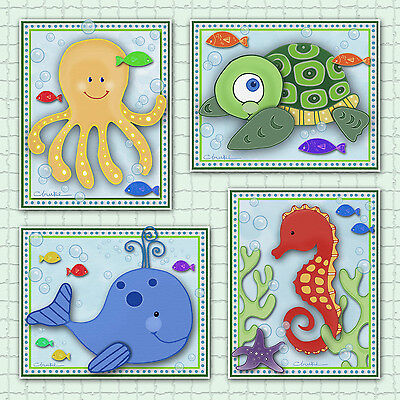 Kids Sealife/Ocean Animals Nursery/Bathroom Art Prints. Seahorse, Whale, Octopus