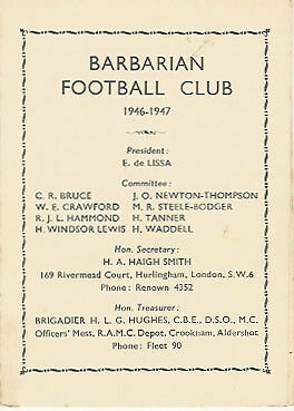 1946/7 Barbarians Rugby Member's Card / Fixture List