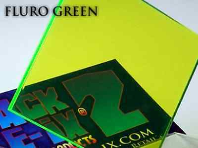 Fluorescent Green Acrylic Perspex Plastic 210mm x 300mm x 3mm One (1) A4 Sheet