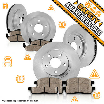 Front 345 mm and Rear 320 mm OE Brake Rotors & Ceramic Pads CHRYSLER DODGE