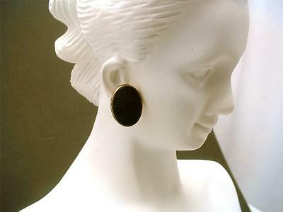 Victorian Earrings Onyx Sterling Silver Oval Screw Posts