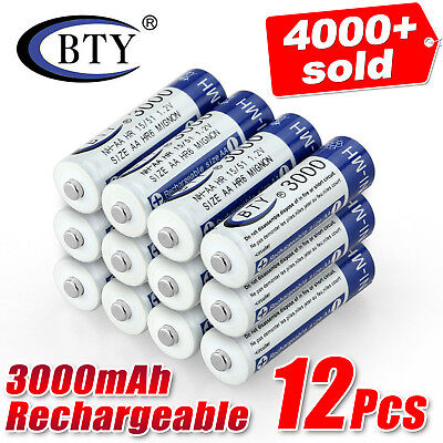 12 pcs AA battery batteries Bulk Nickel Hydride Rechargeable NI-MH 3000mAh 1.2v