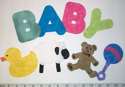 Set of Baby Toys Appliques for Quilt Blocks or Tops, cotton