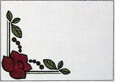 Art Deco Rose Embroidered Quilt Label Customize for quilt tops or block