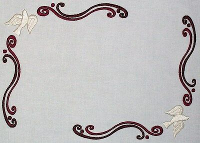 Dove Scrolled Embroidered Quilt Label Customize for quilt tops or block