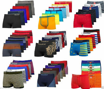 3, 6, 12 Mens Seamless Boxer Briefs Knocker Shorts Lot New Underwear One Size