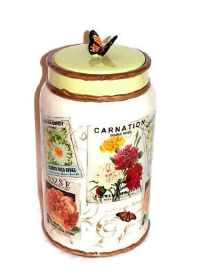 """New 11.5"""" Carnation Daisy Flower Butterfly Lid Ceramic Canister Jar Vintage Look"""