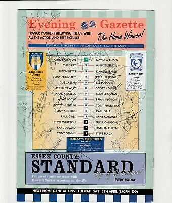 Colchester United V Cardiff City 1996 Programme Orig Hand Signed With 19 X Sigs