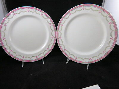 Royal Doulton Wset of 2 Dinner Plates 4293 E6005 Green Trim Pink