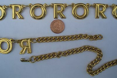 """VINTAGE GOLD Plated Brass Casting Link - Chain Belt - 33"""" Long - RO OR - 1 Piece"""