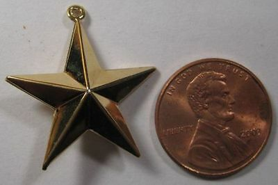 VINTAGE GOLD PLATED - Hollow Star Charm Pendant w/ Loop - 27mm x 23mm - 1 Piece