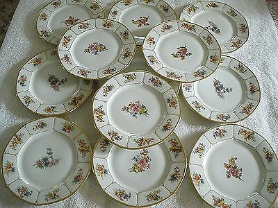 LIMOGES Wm Guerin PLATES 12 Hand Painted 1900-32 W.G. & Co. 7 Cartouches 7.5""